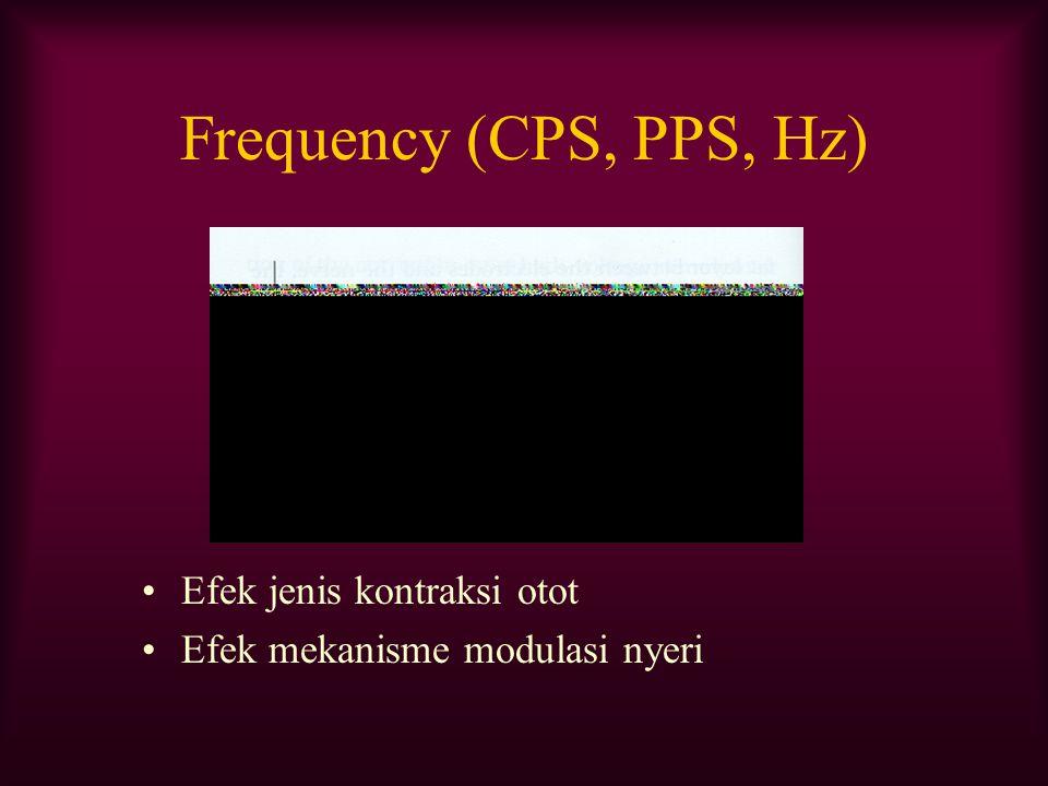Frequency (CPS, PPS, Hz) Efek jenis kontraksi otot Efek mekanisme modulasi nyeri