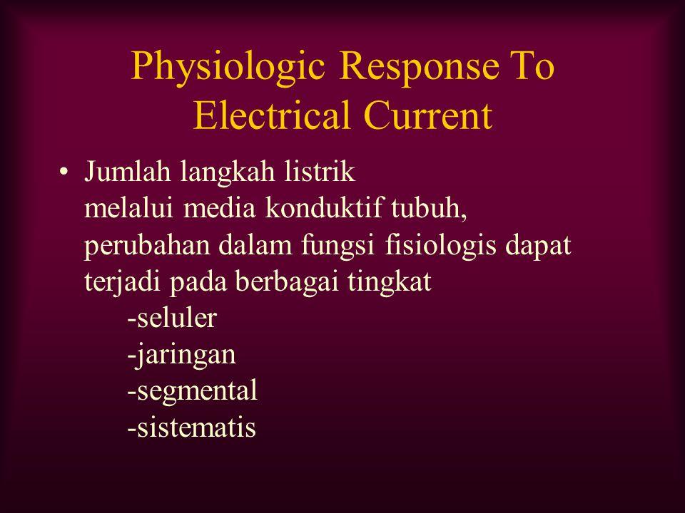 Physiologic Response To Electrical Current Jumlah langkah listrik melalui media konduktif tubuh, perubahan dalam fungsi fisiologis dapat terjadi pada