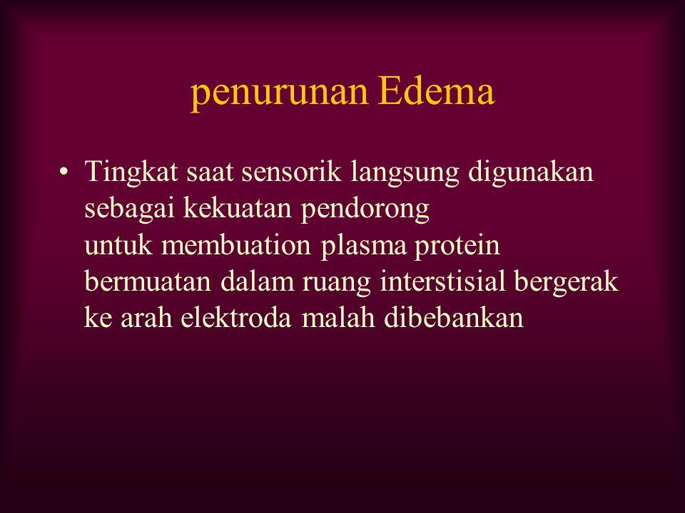 penurunan Edema Tingkat saat sensorik langsung digunakan sebagai kekuatan pendorong untuk membuation plasma protein bermuatan dalam ruang interstisial