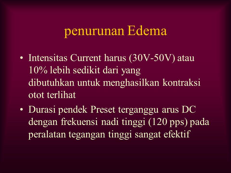 penurunan Edema Intensitas Current harus (30V-50V) atau 10% lebih sedikit dari yang dibutuhkan untuk menghasilkan kontraksi otot terlihat Durasi pende