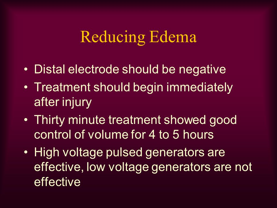 Reducing Edema Distal electrode should be negative Treatment should begin immediately after injury Thirty minute treatment showed good control of volu
