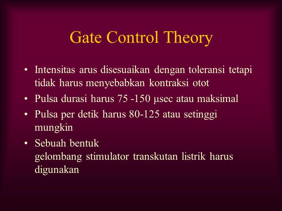 Gate Control Theory Intensitas arus disesuaikan dengan toleransi tetapi tidak harus menyebabkan kontraksi otot Pulsa durasi harus 75 -150 μsec atau ma