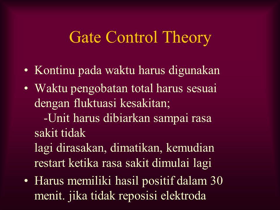 Gate Control Theory Kontinu pada waktu harus digunakan Waktu pengobatan total harus sesuai dengan fluktuasi kesakitan; -Unit harus dibiarkan sampai ra