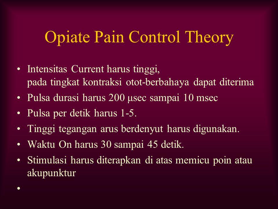 Opiate Pain Control Theory Intensitas Current harus tinggi, pada tingkat kontraksi otot-berbahaya dapat diterima Pulsa durasi harus 200 μsec sampai 10