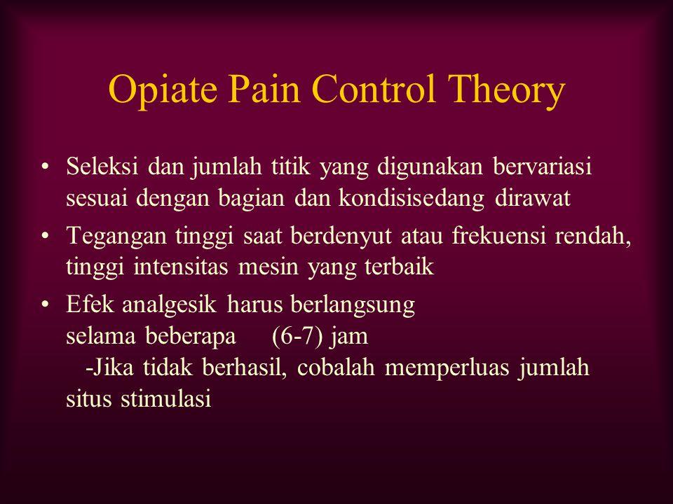Opiate Pain Control Theory Seleksi dan jumlah titik yang digunakan bervariasi sesuai dengan bagian dan kondisisedang dirawat Tegangan tinggi saat berd