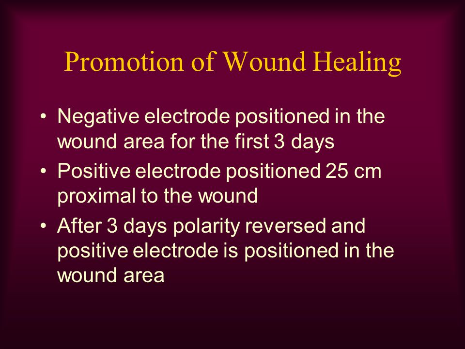 Promotion of Wound Healing Negative electrode positioned in the wound area for the first 3 days Positive electrode positioned 25 cm proximal to the wo