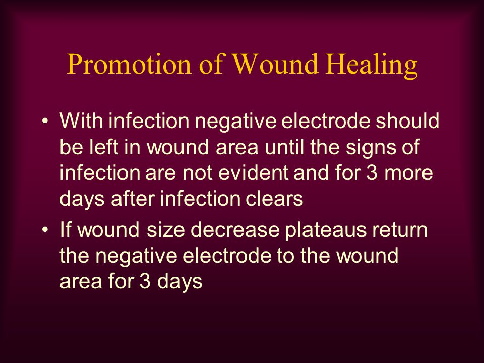 Promotion of Wound Healing With infection negative electrode should be left in wound area until the signs of infection are not evident and for 3 more