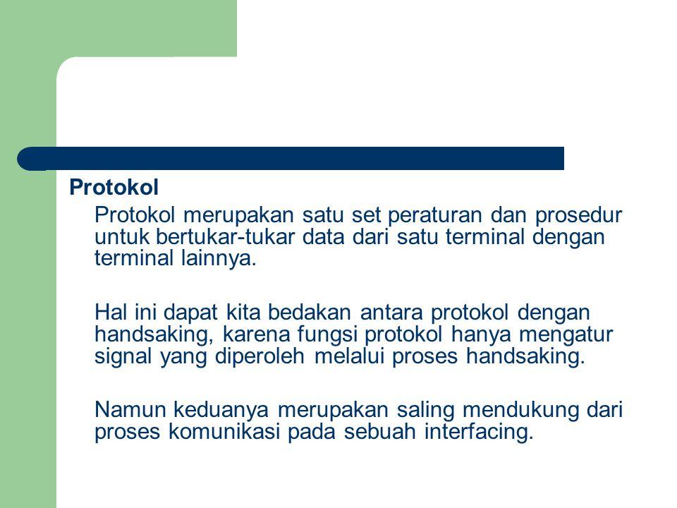 Protokol Protokol merupakan satu set peraturan dan prosedur untuk bertukar-tukar data dari satu terminal dengan terminal lainnya. Hal ini dapat kita b