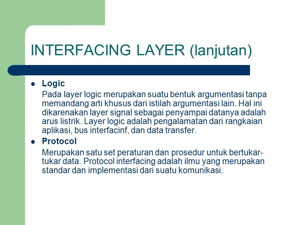 INTERFACING LAYER (lanjutan) Logic Pada layer logic merupakan suatu bentuk argumentasi tanpa memandang arti khusus dari istilah argumentasi lain. Hal