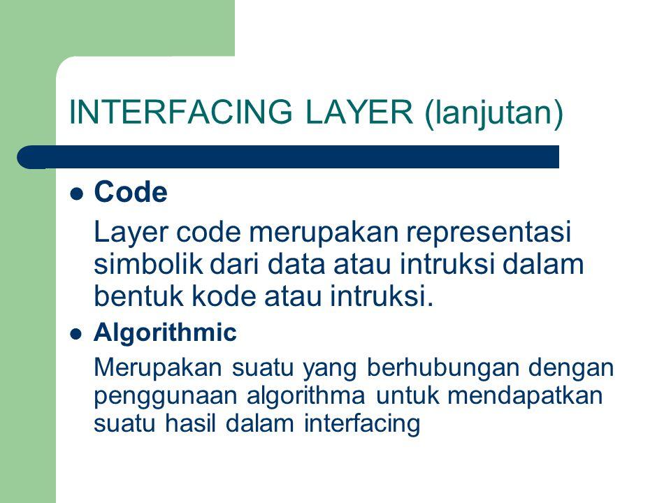 INTERFACING LAYER (lanjutan) Code Layer code merupakan representasi simbolik dari data atau intruksi dalam bentuk kode atau intruksi. Algorithmic Meru