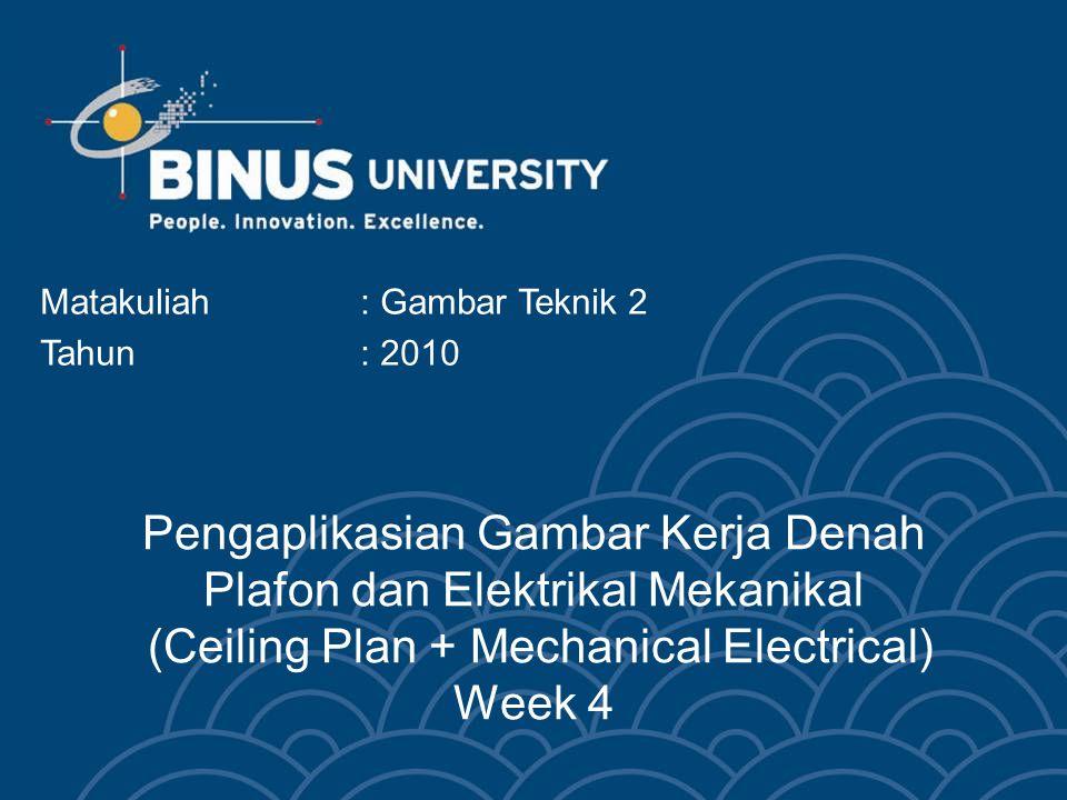 Bina Nusantara University 3 Denah plafon & elektrikal mekanikal Denah plafon menerangkan perencanaan detail plafon, titik-titik lampu dan instalasi listrik
