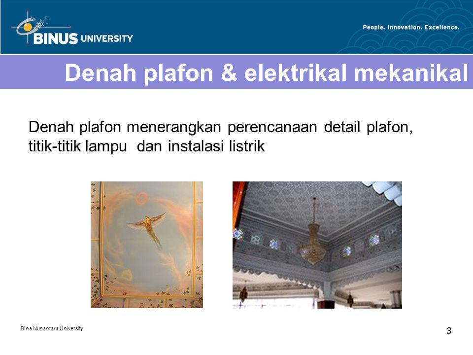 Bina Nusantara University 3 Denah plafon & elektrikal mekanikal Denah plafon menerangkan perencanaan detail plafon, titik-titik lampu dan instalasi li