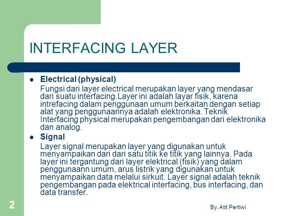 By. Atit Pertiwi 2 INTERFACING LAYER Electrical (physical) Fungsi dari layer electrical merupakan layer yang mendasar dari suatu interfacing.Layer ini