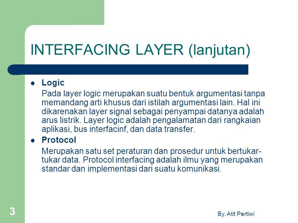 By. Atit Pertiwi 3 INTERFACING LAYER (lanjutan) Logic Pada layer logic merupakan suatu bentuk argumentasi tanpa memandang arti khusus dari istilah arg