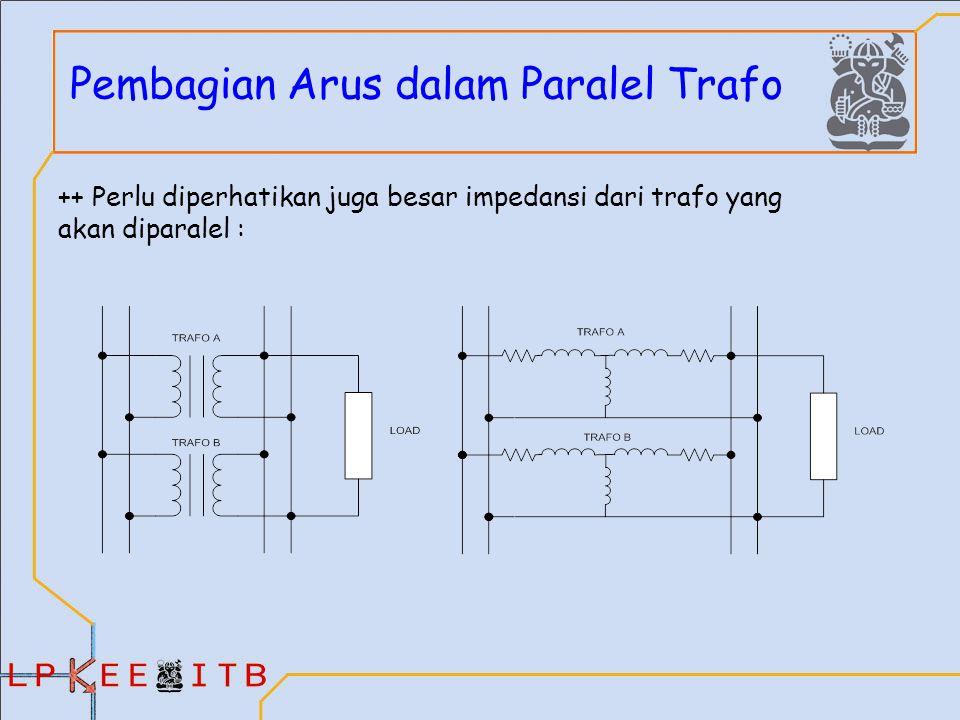 Pembagian Arus dalam Paralel Trafo ++ Perlu diperhatikan juga besar impedansi dari trafo yang akan diparalel :