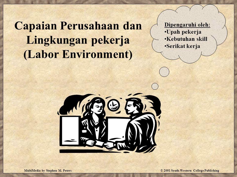 MultiMedia by Stephen M. Peters© 2001 South-Western College Publishing Capaian Perusahaan dan Lingkungan pekerja (Labor Environment) Dipengaruhi oleh: