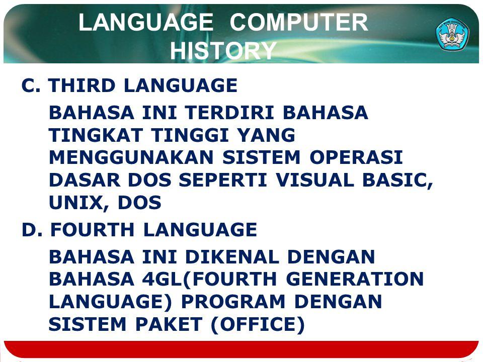 LANGUAGE COMPUTER HISTORY C.