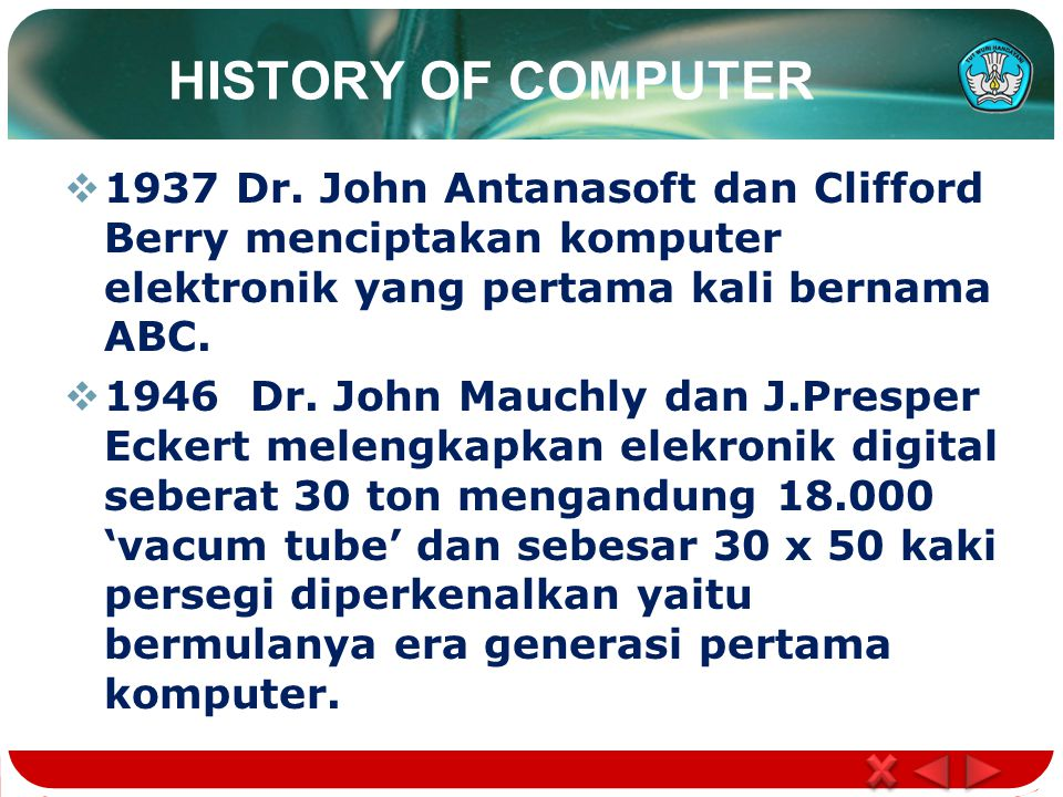 HISTORY OF COMPUTER  1937 Dr.