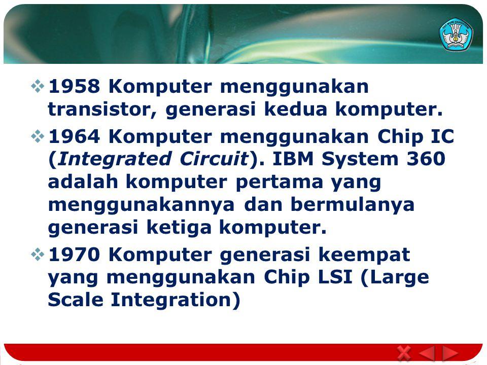  1958 Komputer menggunakan transistor, generasi kedua komputer.