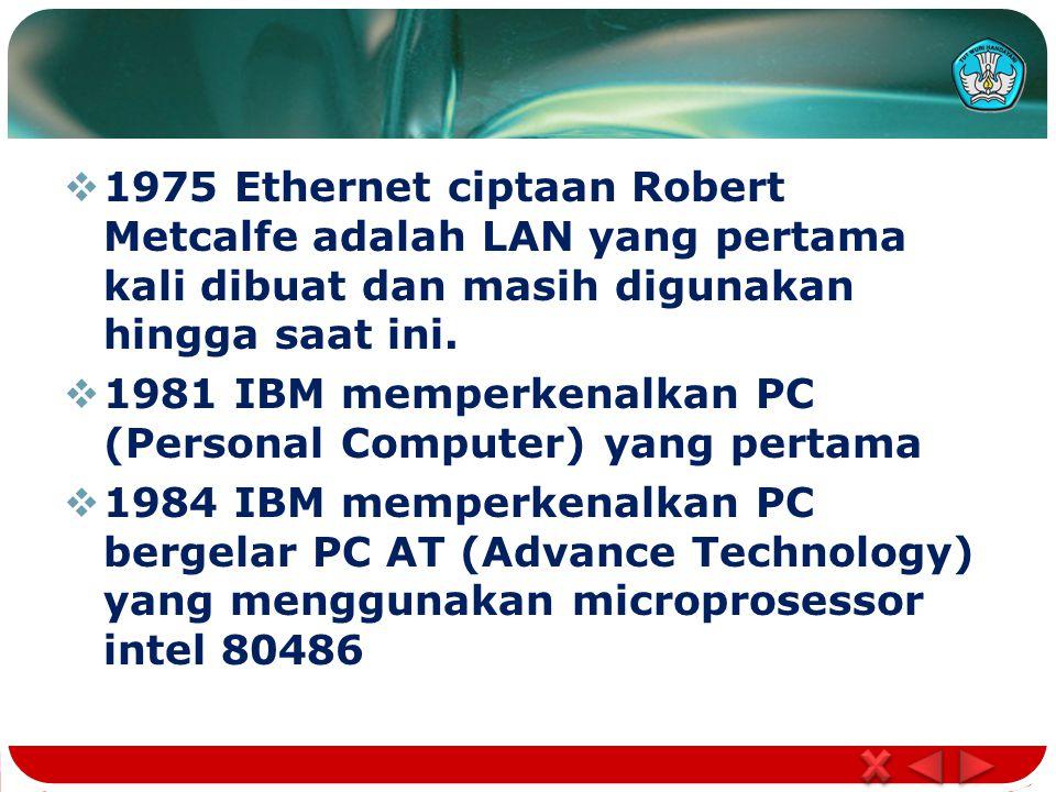  1975 Ethernet ciptaan Robert Metcalfe adalah LAN yang pertama kali dibuat dan masih digunakan hingga saat ini.