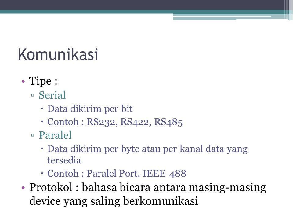 Komunikasi Tipe : ▫Serial  Data dikirim per bit  Contoh : RS232, RS422, RS485 ▫Paralel  Data dikirim per byte atau per kanal data yang tersedia  Contoh : Paralel Port, IEEE-488 Protokol : bahasa bicara antara masing-masing device yang saling berkomunikasi