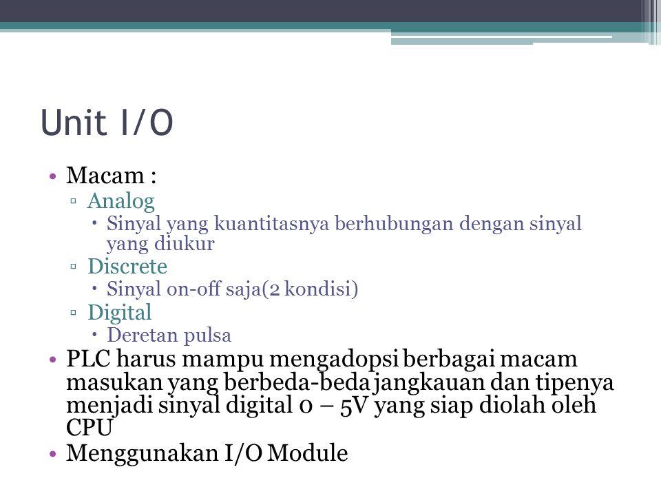Unit I/O Macam : ▫Analog  Sinyal yang kuantitasnya berhubungan dengan sinyal yang diukur ▫Discrete  Sinyal on-off saja(2 kondisi) ▫Digital  Deretan pulsa PLC harus mampu mengadopsi berbagai macam masukan yang berbeda-beda jangkauan dan tipenya menjadi sinyal digital 0 – 5V yang siap diolah oleh CPU Menggunakan I/O Module