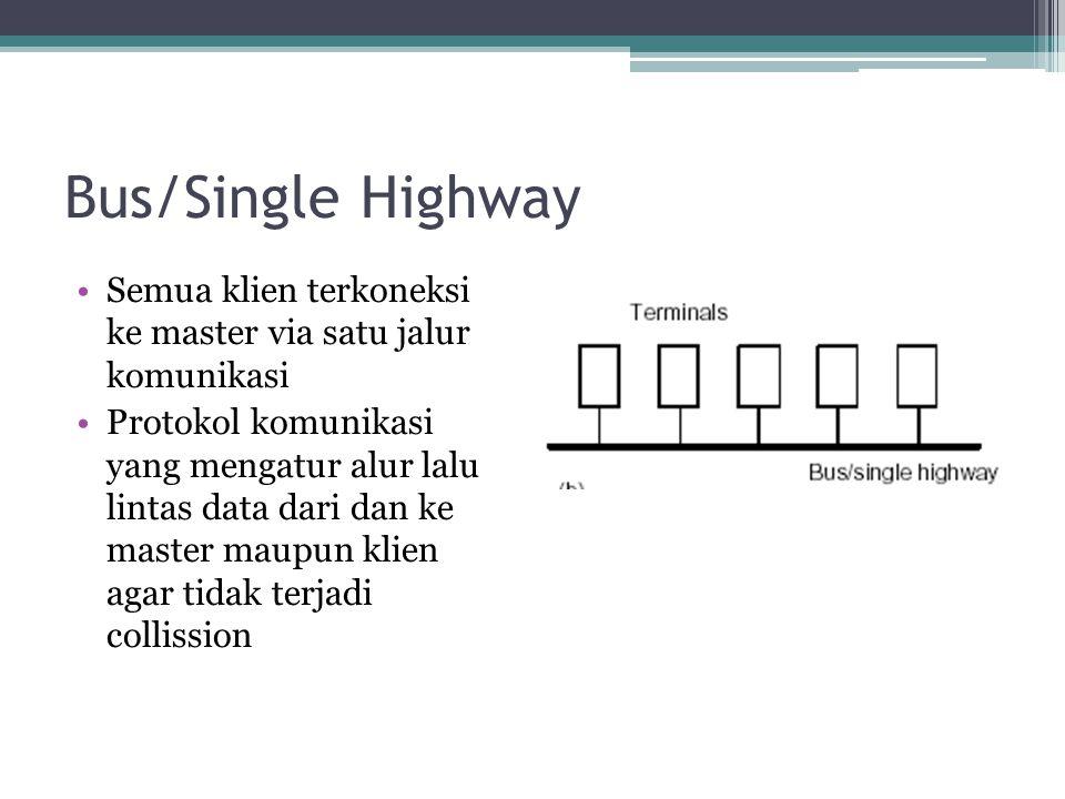 Bus/Single Highway Semua klien terkoneksi ke master via satu jalur komunikasi Protokol komunikasi yang mengatur alur lalu lintas data dari dan ke master maupun klien agar tidak terjadi collission