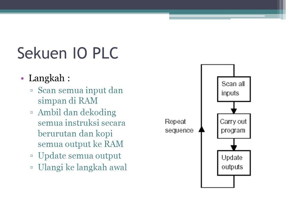 Sekuen IO PLC Langkah : ▫Scan semua input dan simpan di RAM ▫Ambil dan dekoding semua instruksi secara berurutan dan kopi semua output ke RAM ▫Update semua output ▫Ulangi ke langkah awal