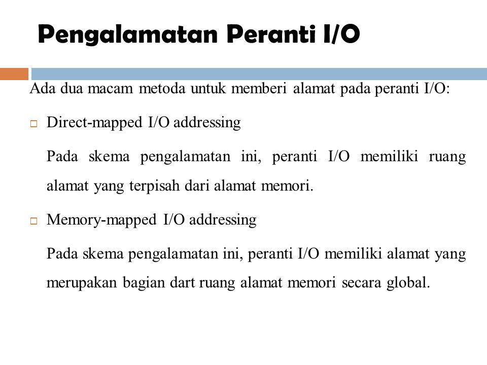 Ada dua macam metoda untuk memberi alamat pada peranti I/O:  Direct-mapped I/O addressing Pada skema pengalamatan ini, peranti I/O memiliki ruang ala