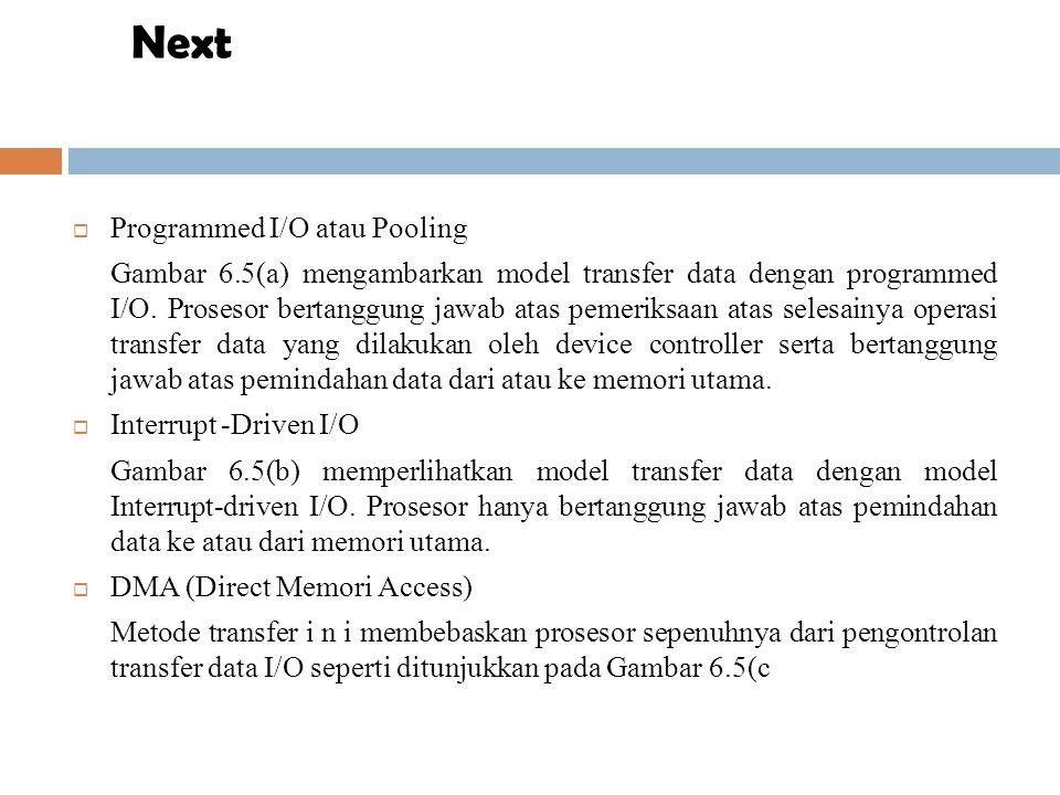 Ilustrasi langkah-langkah transfer data dari disk dengan teknik DMA dan dijelaskan sebagai berikut:  Pertama, suatu proses yang sedang berjalan melakukah operasi I/O dengan memanggil salah satu fungsi device driver untuk melakukan transfer data dari disk ke buffer X di memori utama.