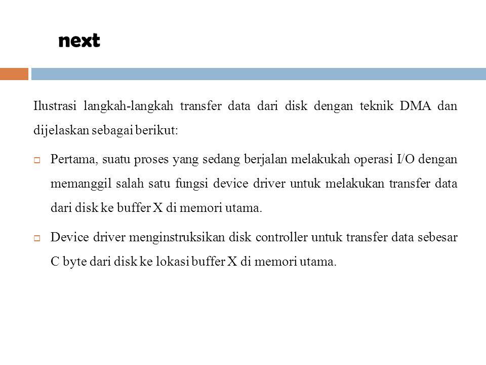Ilustrasi langkah-langkah transfer data dari disk dengan teknik DMA dan dijelaskan sebagai berikut:  Pertama, suatu proses yang sedang berjalan melak