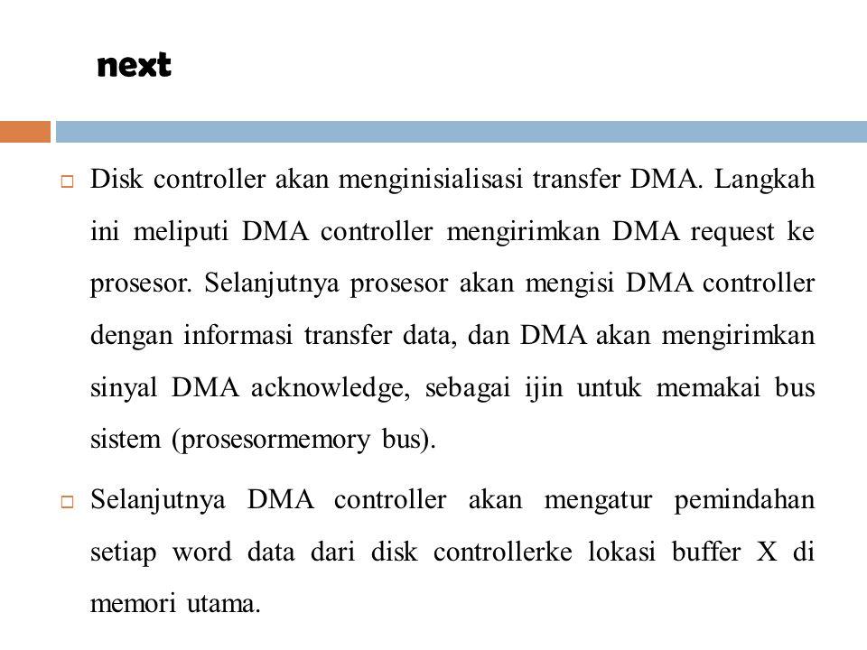  Disk controller akan menginisialisasi transfer DMA. Langkah ini meliputi DMA controller mengirimkan DMA request ke prosesor. Selanjutnya prosesor ak
