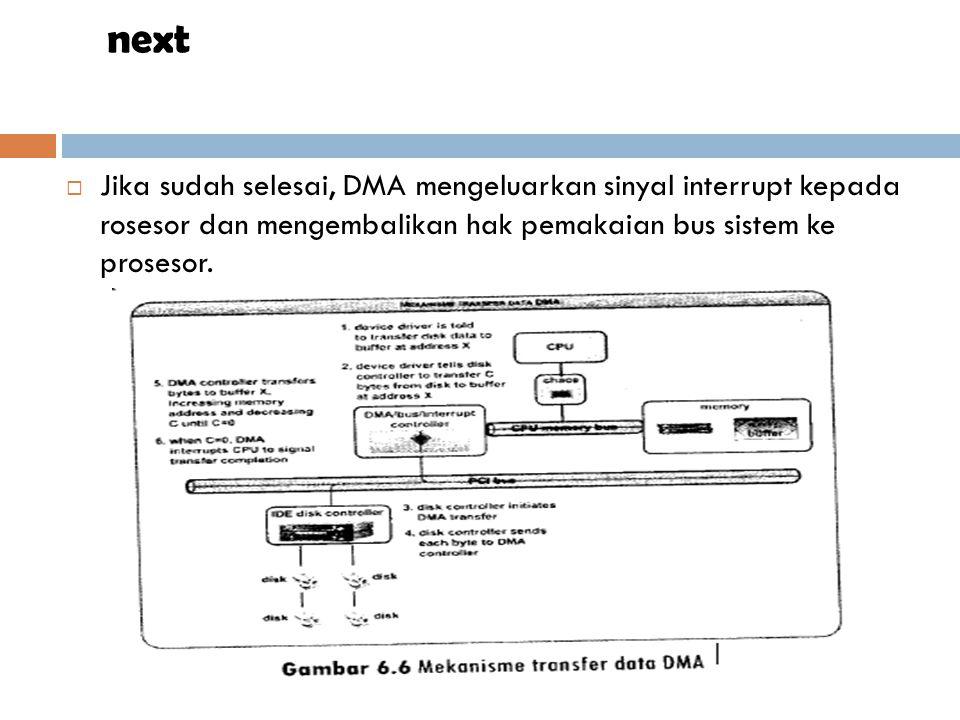  Jika sudah selesai, DMA mengeluarkan sinyal interrupt kepada rosesor dan mengembalikan hak pemakaian bus sistem ke prosesor. next
