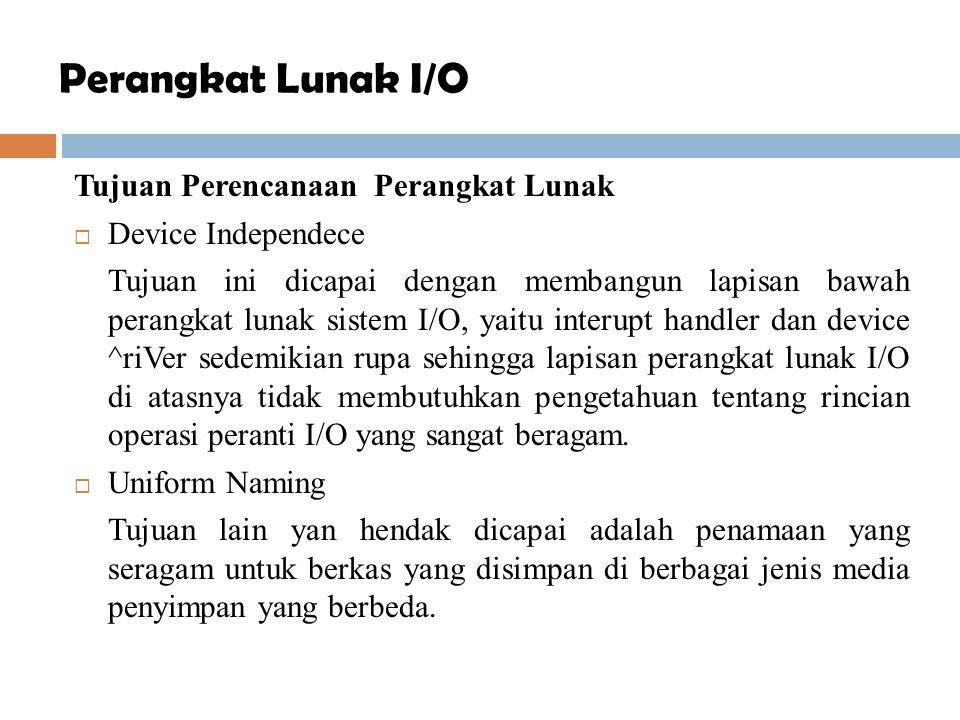Tujuan Perencanaan Perangkat Lunak  Device Independece Tujuan ini dicapai dengan membangun lapisan bawah perangkat lunak sistem I/O, yaitu interupt h
