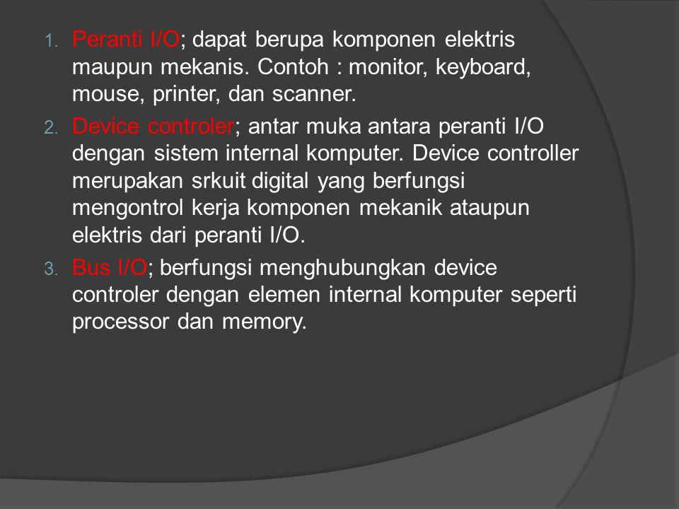 1. Peranti I/O; dapat berupa komponen elektris maupun mekanis. Contoh : monitor, keyboard, mouse, printer, dan scanner. 2. Device controler; antar muk