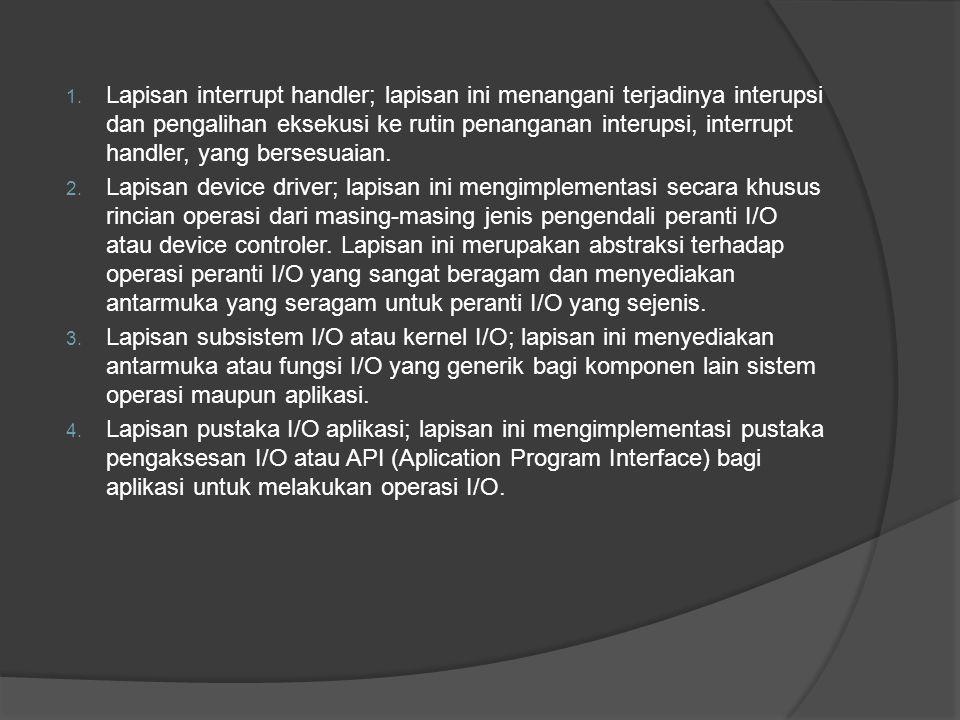 1.Peranti I/O Karakteristik pembeda antara peranti I/O dengan peranti I/O lain : 1.