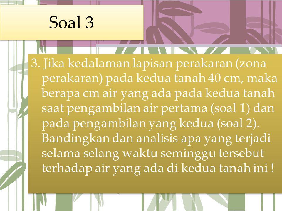 Soal 3 3. Jika kedalaman lapisan perakaran (zona perakaran) pada kedua tanah 40 cm, maka berapa cm air yang ada pada kedua tanah saat pengambilan air