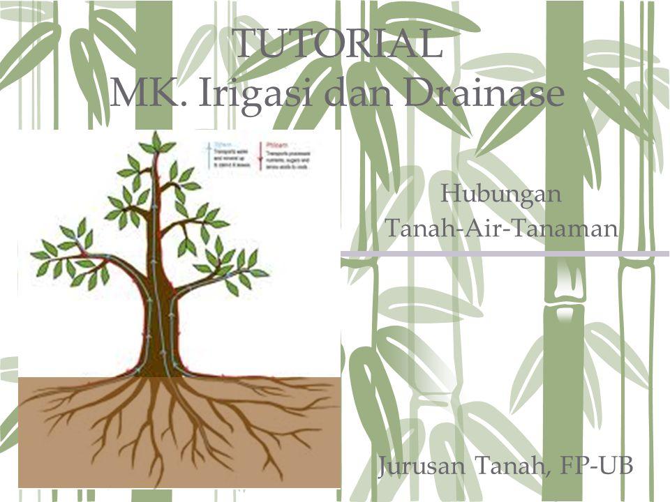 TUTORIAL MK. Irigasi dan Drainase Hubungan Tanah-Air-Tanaman Jurusan Tanah, FP-UB