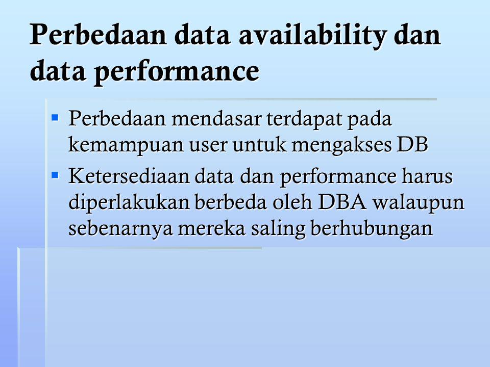 Perbedaan data availability dan data performance  Perbedaan mendasar terdapat pada kemampuan user untuk mengakses DB  Ketersediaan data dan performance harus diperlakukan berbeda oleh DBA walaupun sebenarnya mereka saling berhubungan