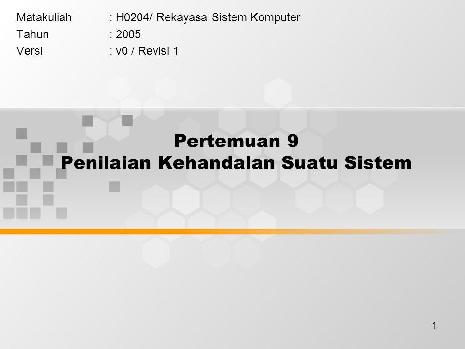 1 Pertemuan 9 Penilaian Kehandalan Suatu Sistem Matakuliah: H0204/ Rekayasa Sistem Komputer Tahun: 2005 Versi: v0 / Revisi 1