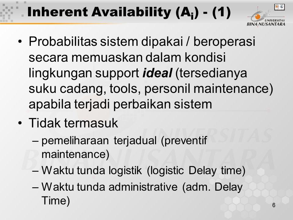6 Inherent Availability (A i ) - (1) Probabilitas sistem dipakai / beroperasi secara memuaskan dalam kondisi lingkungan support ideal (tersedianya suku cadang, tools, personil maintenance) apabila terjadi perbaikan sistem Tidak termasuk –pemeliharaan terjadual (preventif maintenance) –Waktu tunda logistik (logistic Delay time) –Waktu tunda administrative (adm.