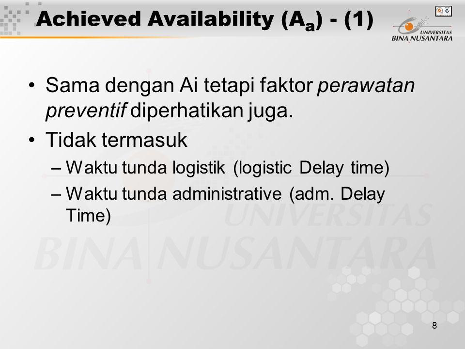 8 Achieved Availability (A a ) - (1) Sama dengan Ai tetapi faktor perawatan preventif diperhatikan juga.