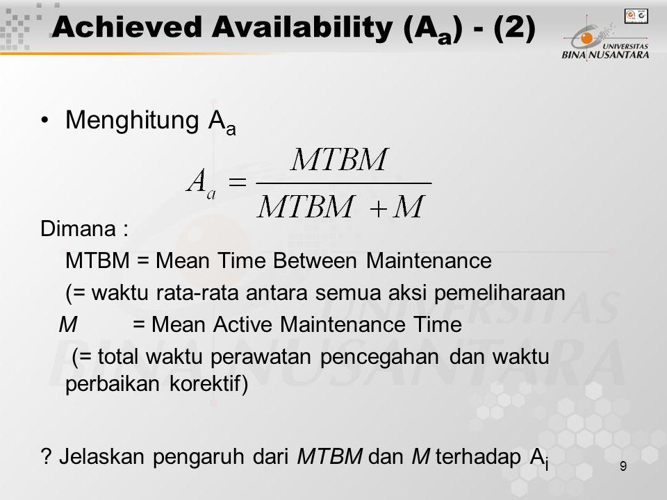 9 Achieved Availability (A a ) - (2) Menghitung A a Dimana : MTBM = Mean Time Between Maintenance (= waktu rata-rata antara semua aksi pemeliharaan M = Mean Active Maintenance Time (= total waktu perawatan pencegahan dan waktu perbaikan korektif) .