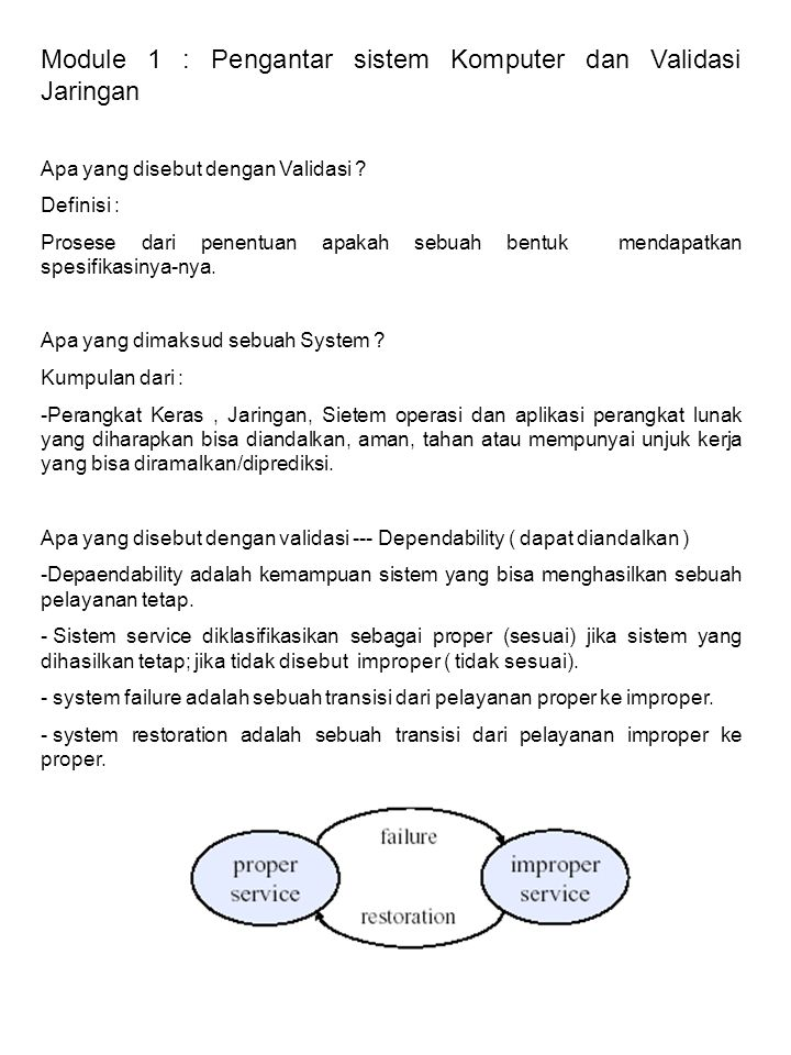 Module 1 : Pengantar sistem Komputer dan Validasi Jaringan Apa yang disebut dengan Validasi .