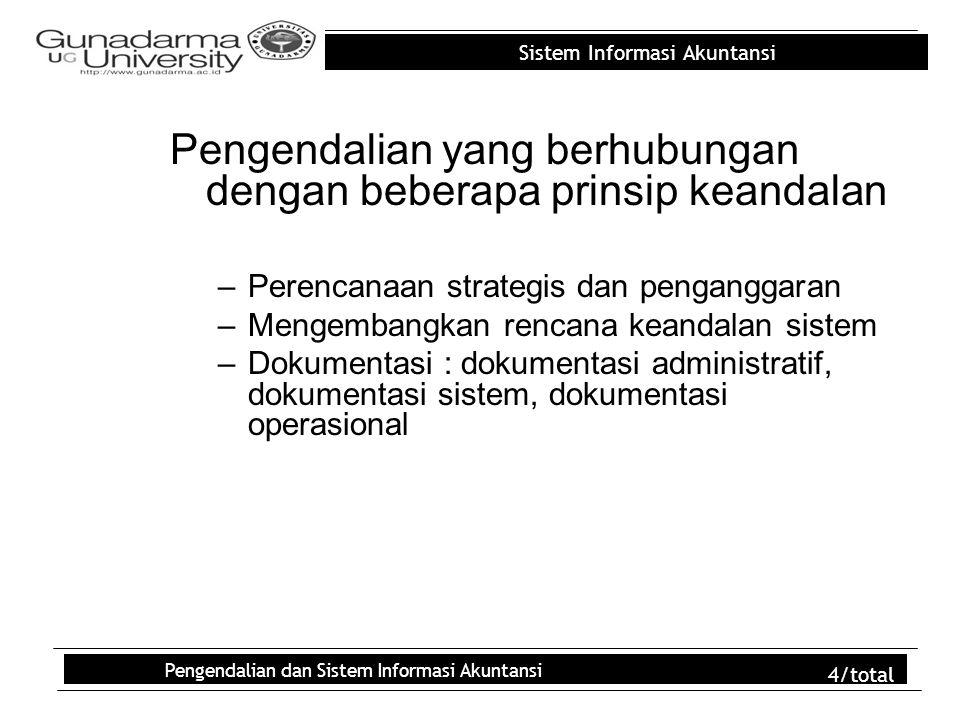 Sistem Informasi Akuntansi Pengendalian dan Sistem Informasi Akuntansi 4/total Pengendalian yang berhubungan dengan beberapa prinsip keandalan –Perenc