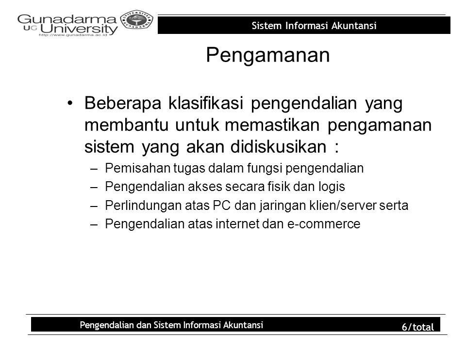 Sistem Informasi Akuntansi Pengendalian dan Sistem Informasi Akuntansi 6/total Pengamanan Beberapa klasifikasi pengendalian yang membantu untuk memast