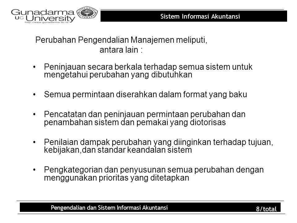 Sistem Informasi Akuntansi Pengendalian dan Sistem Informasi Akuntansi 8/total Perubahan Pengendalian Manajemen meliputi, antara lain : Peninjauan sec