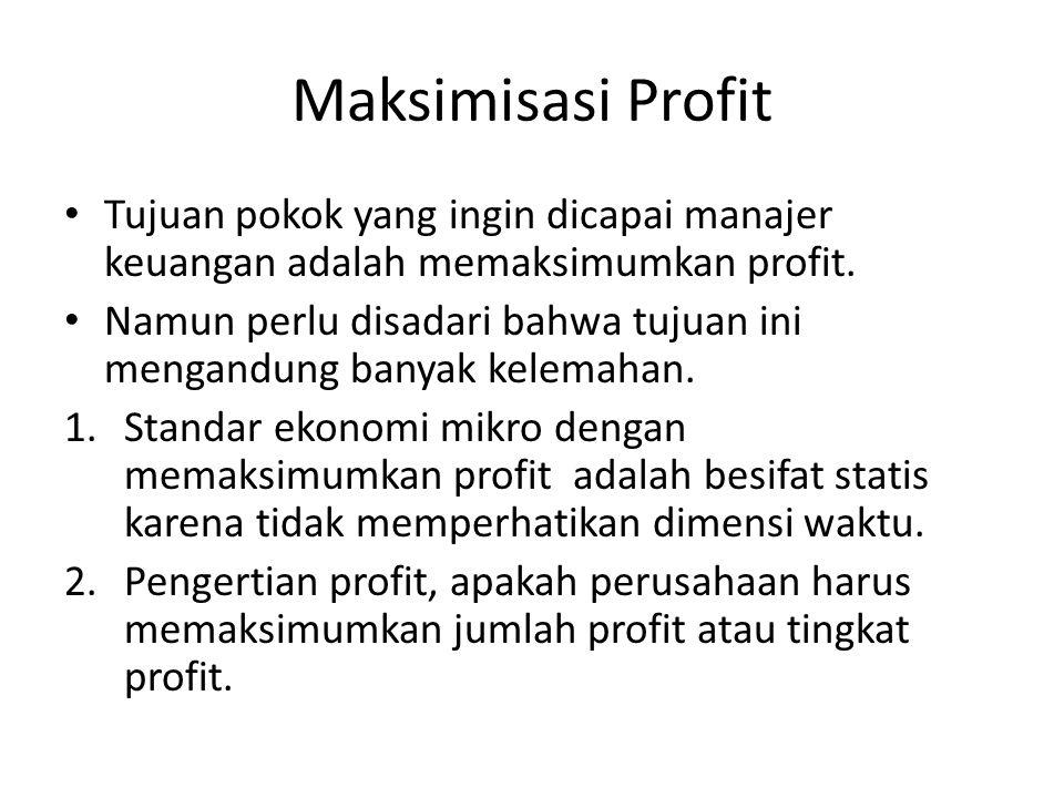 Maksimisasi Profit Tujuan pokok yang ingin dicapai manajer keuangan adalah memaksimumkan profit. Namun perlu disadari bahwa tujuan ini mengandung bany