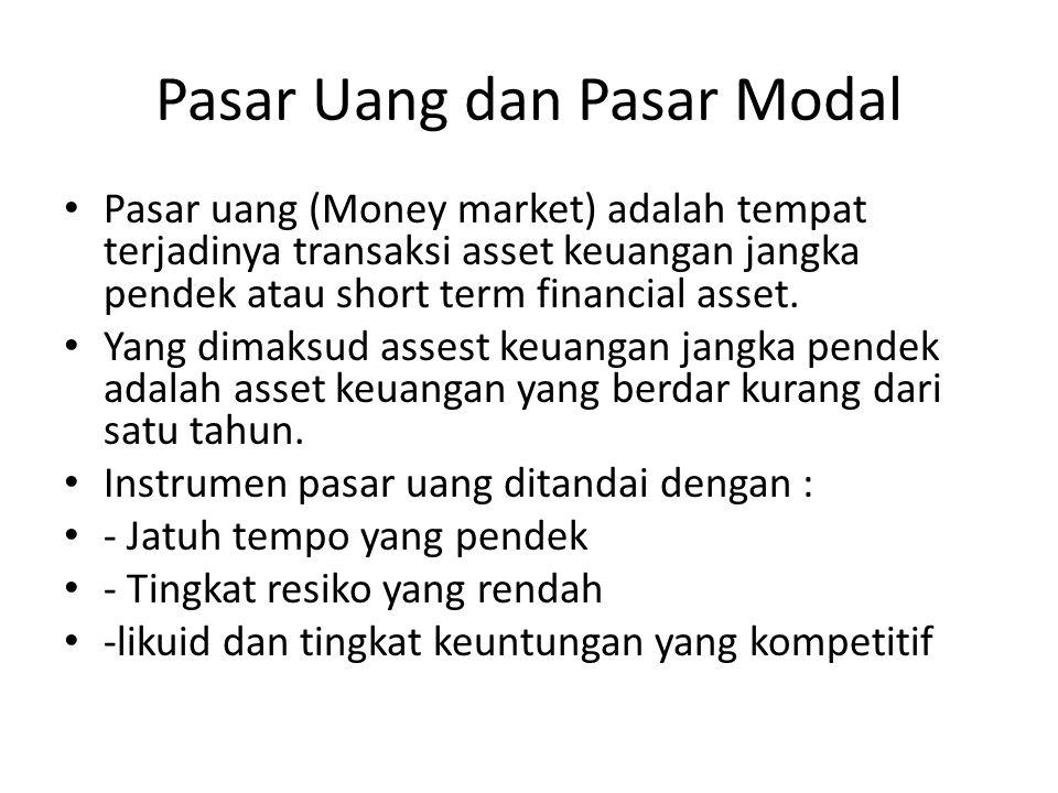 Pasar Uang dan Pasar Modal Pasar uang (Money market) adalah tempat terjadinya transaksi asset keuangan jangka pendek atau short term financial asset.