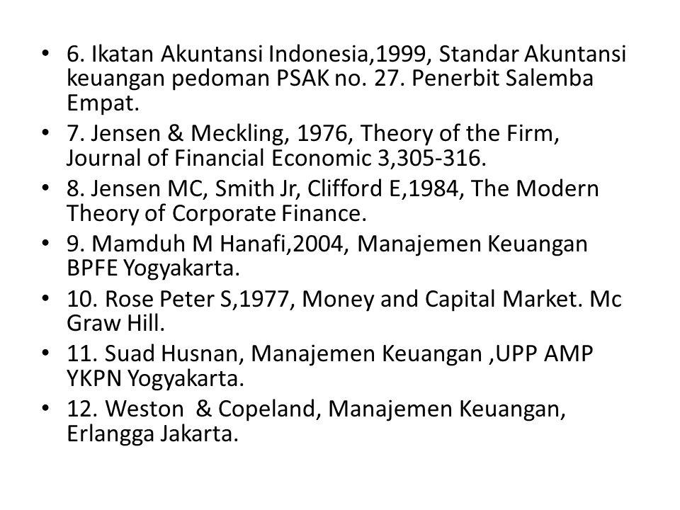 6. Ikatan Akuntansi Indonesia,1999, Standar Akuntansi keuangan pedoman PSAK no. 27. Penerbit Salemba Empat. 7. Jensen & Meckling, 1976, Theory of the